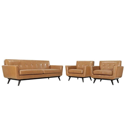 Engage 3 Piece Leather Living Room 1763-TAN-SET