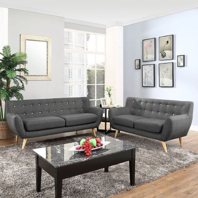 EEI-1785-GRY-SET Remark 2 Piece Living Room Set Gray