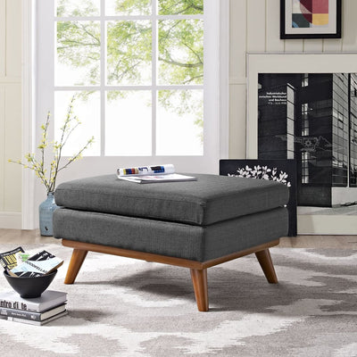 Gray Engage Fabric Ottoman