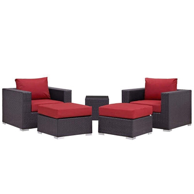 "Convene 5 Piece Outdoor Patio Sectional Set, Espresso Red Size : 33.5""Lx35""Wx25.5""H"