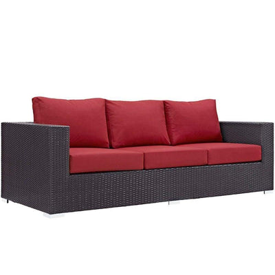 Convene Outdoor Patio Sofa, Espresso Red