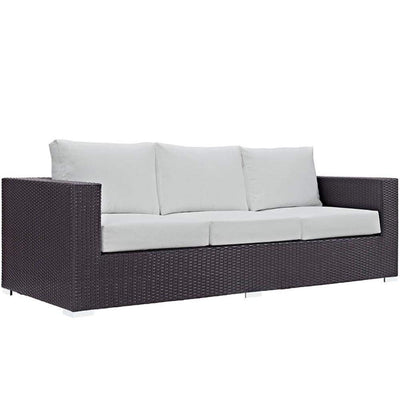 Convene Outdoor Patio Sofa, Espresso White