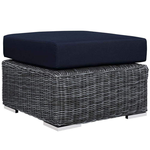 Turquoise Convene Outdoor Patio Fabric Square Ottoman
