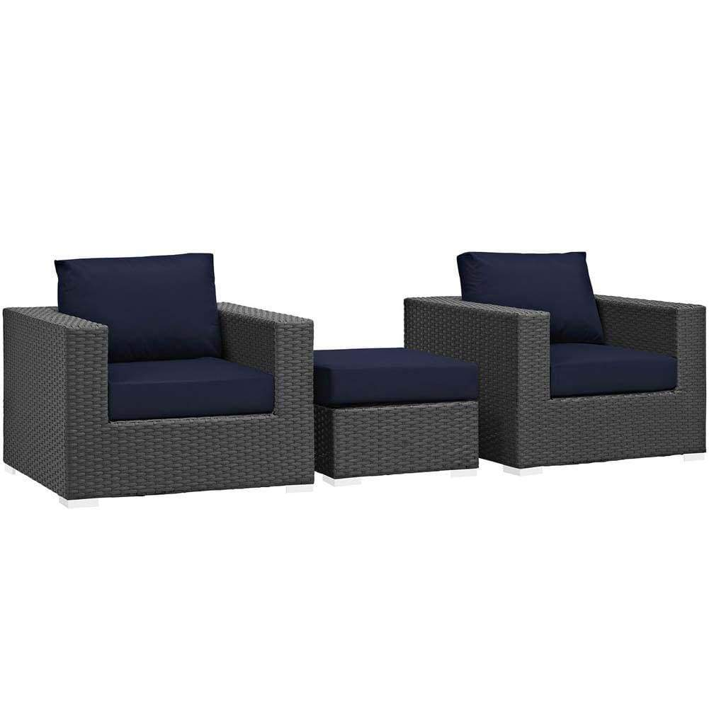 Canvas Navy Sojourn 3 Piece Outdoor Patio Sunbrella Sectional Set