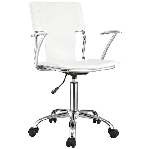 Juvenile White Leather Chair Look