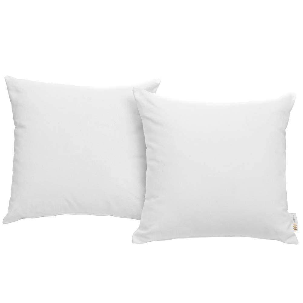 White Convene Two Piece Outdoor Patio Pillow Set
