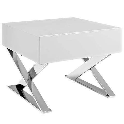 Glossy White / Chrome Metal Accent Table / Tempered Glass