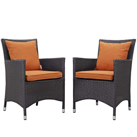 Orange Convene 2 Piece Outdoor Patio Dining Set