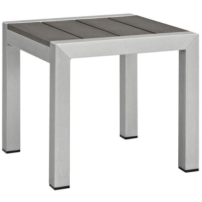 Silver Gray Shore Outdoor Patio Aluminum Side Table