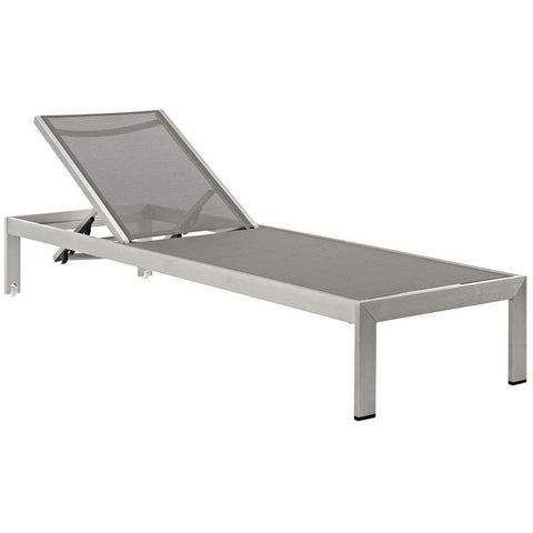 Silver Gray Shore Outdoor Patio Aluminum Chaise-EEI-2249-SLV-GRY