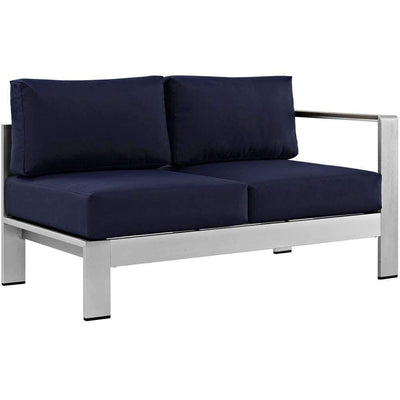 Silver Navy Shore Outdoor Patio Aluminum Right-Arm Loveseat