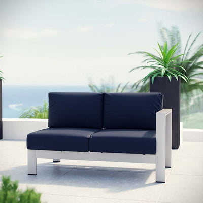 Silver Navy Shore Outdoor Patio Aluminum Right-Arm Loveseat MDY-EEI-2262-SLV-NAV