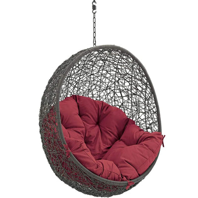 Hide Outdoor Patio Swing Chair With Stand Gray Red MDY-EEI-2273-GRY-RED