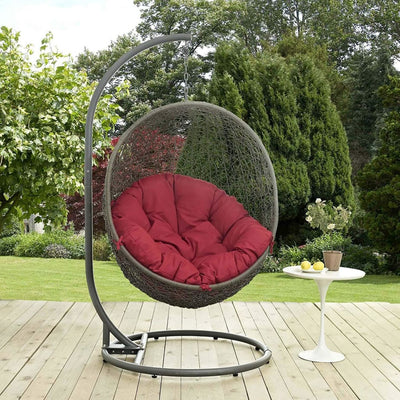 Hide Outdoor Patio Swing Chair With Stand, Gray Red