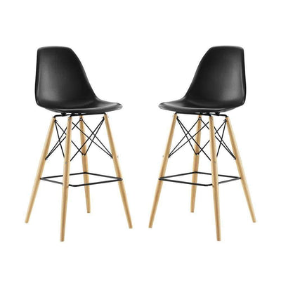 Black Pyramid Dining Side Bar Stool Set of 2 -Modway