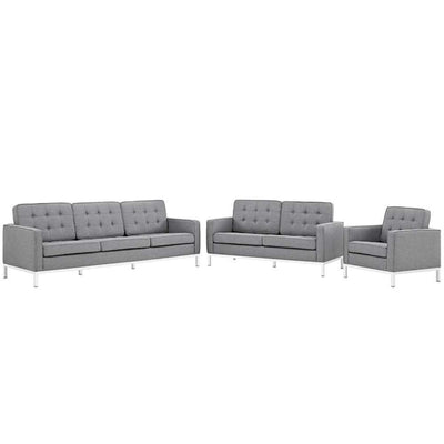 "Loft Living Room Set Upholstered Fabric Set of 3, Light Gray Size : 31""Lx31""Wx32""H -Modway"