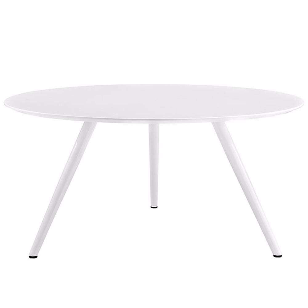 """Lippa 60"""" Round Wood Top Dining Table With Tripod Base, White"""