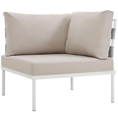 Harmony Outdoor Patio Aluminum Corner Sofa, White Beige