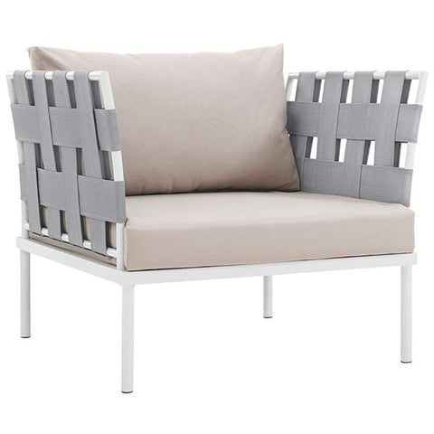 Harmony Outdoor Patio Aluminum Armchair, White Beige