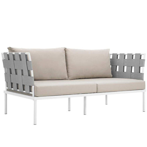 Harmony Outdoor Patio Aluminum Loveseat, White Beige