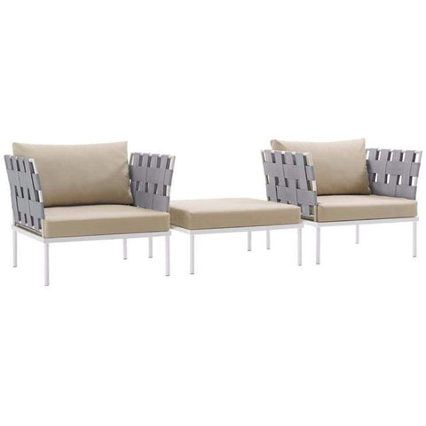 Harmony 3 Piece Outdoor Patio Aluminum Set, White Beige