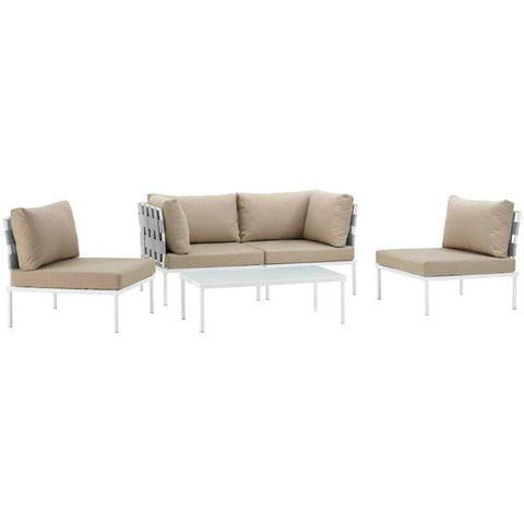 Harmony 5 Piece Outdoor Patio Aluminum Sectional Sofa Set ,White Beige - EEI-2622-WHI-BEI-SET