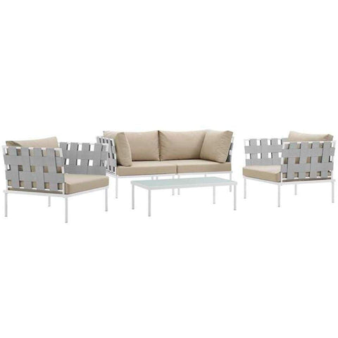 Harmony 5 Piece Outdoor Patio Aluminum Sectional Sofa Set, White Beige