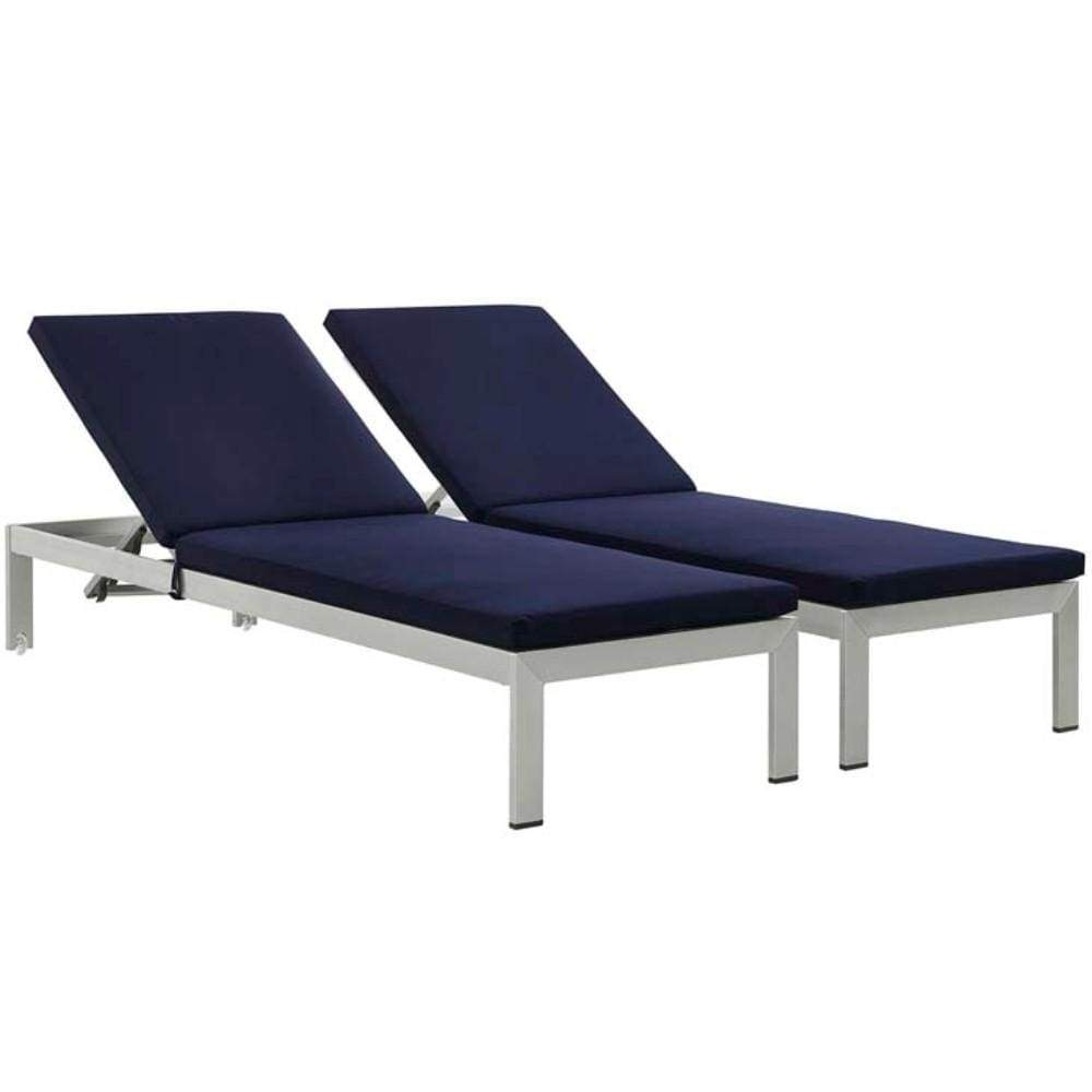 Shore Set of 2 Outdoor Patio Aluminum Chaise with Cushions, Silver Navy