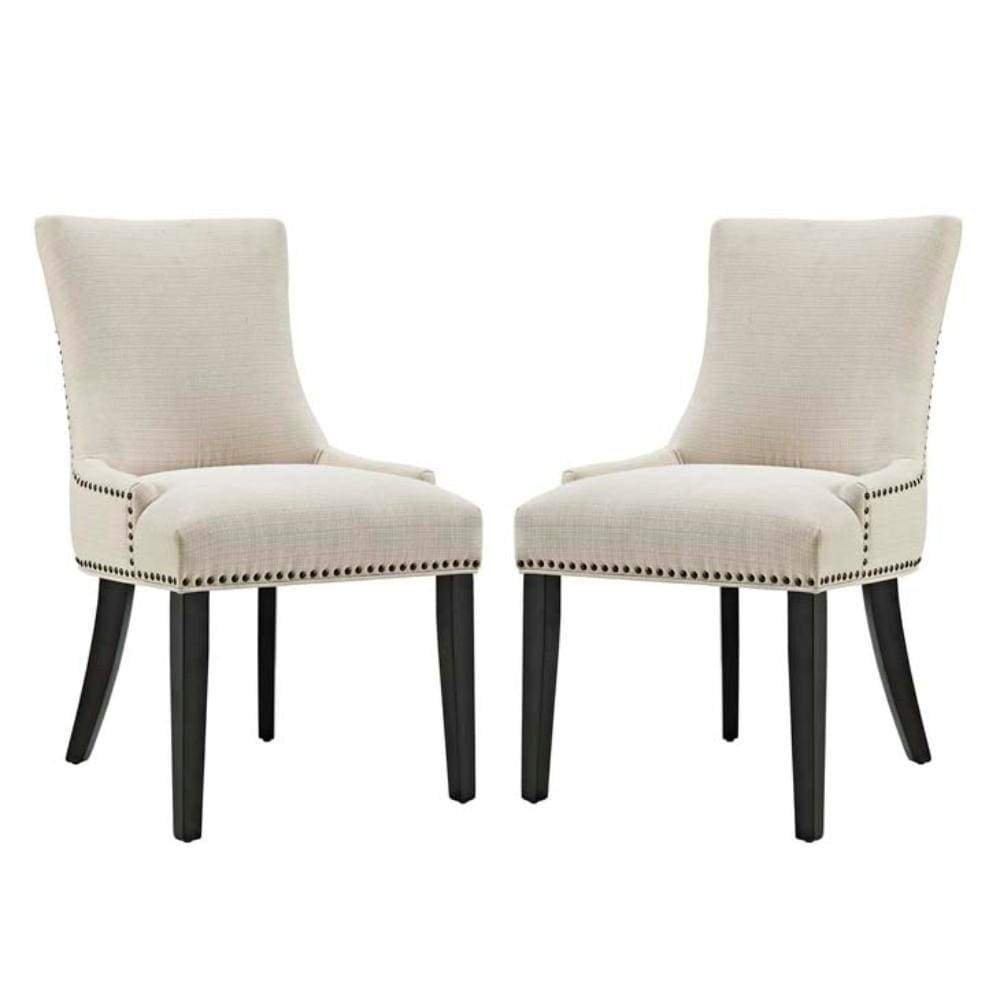 Marquis Set of 2 Fabric Dining Side Chair, Beige