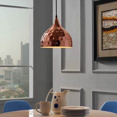 "Dimple 11"" Bell-Shaped Rose Gold Pendant Light - EEI-2904"