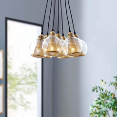Peak Brass Cone and Glass Globe Cluster Pendant Chandelier - EEI-3083