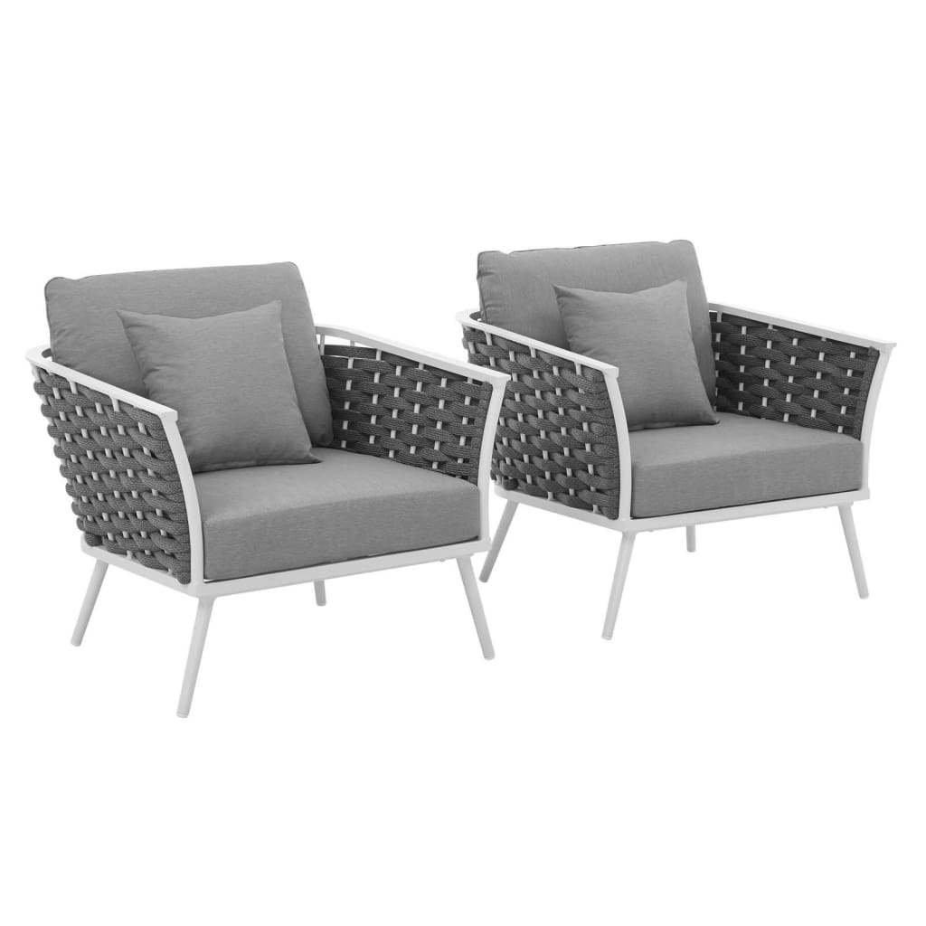 Stance Armchair Outdoor Patio Aluminum Set of 2 - EEI-3162-WHI-GRY-SET