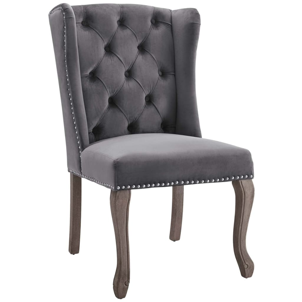 Apprise French Vintage Dining Performance Velvet Side Chair - EEI-3367-GRY