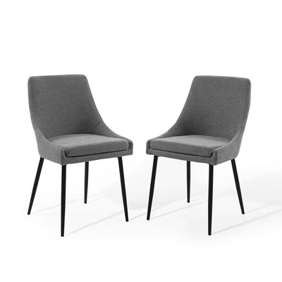 Viscount Upholstered Fabric Dining Chairs - Set of 2 - EEI-3809-BLK-CHA