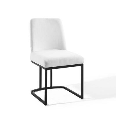 Amplify Sled Base Upholstered Fabric Dining Side Chair - EEI-3811-BLK-WHI