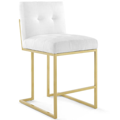 Privy Gold Stainless Steel Upholstered Fabric Counter Stool - EEI-3852-GLD-WHI