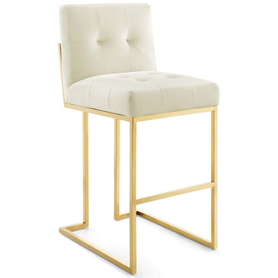 Privy Gold Stainless Steel Performance Velvet Bar Stool - EEI-3856-GLD-IVO