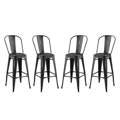 Promenade Bar Side Stool Metal Set of 4 - EEI-3898-BLK