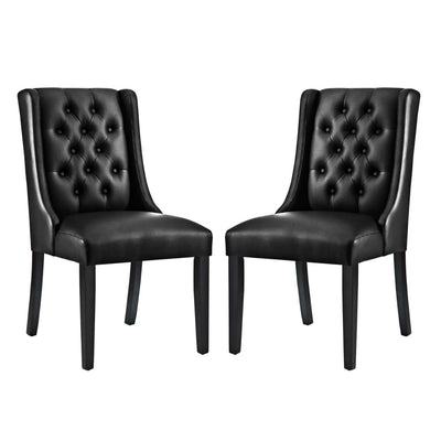 Baronet Dining Chair Vinyl Set of 2 - EEI-3950-BLK
