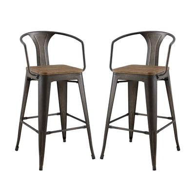 Promenade Bar Stool Set of 2 - EEI-3954-BRN