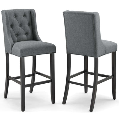 Baronet Bar Stool Upholstered Fabric Set of 2 - EEI-4022-GRY