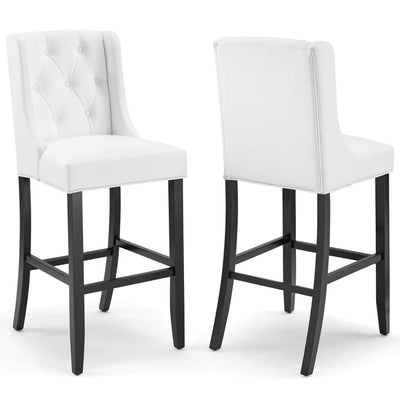 Baronet Bar Stool Faux Leather Set of 2 - EEI-4023-WHI