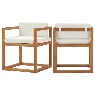 Newbury Outdoor Patio Premium Grade A Teak Wood Accent Armchair Set of 2 - EEI-4029-NAT-WHI