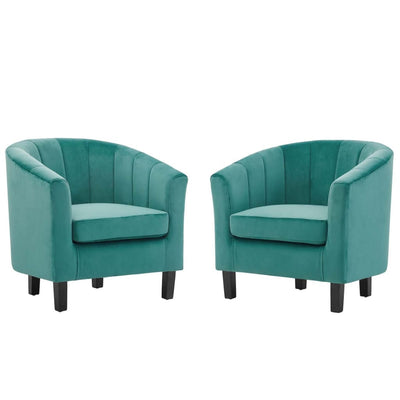 Prospect Channel Tufted Performance Velvet Armchair Set of 2 - EEI-4150-TEA