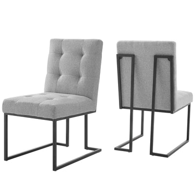 Privy Black Stainless Steel Upholstered Fabric Dining Chair Set of 2 - EEI-4153-BLK-LGR
