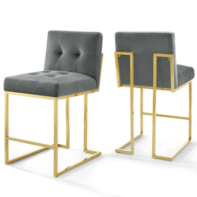 Privy Gold Stainless Steel Performance Velvet Counter Stool Set of 2 - EEI-4155-GLD-CHA