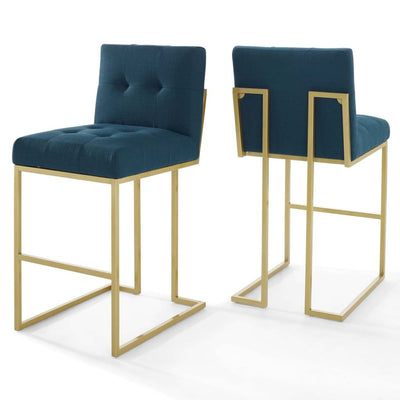Privy Gold Stainless Steel Performance Velvet Bar Stool Set of 2 - EEI-4157-GLD-AZU