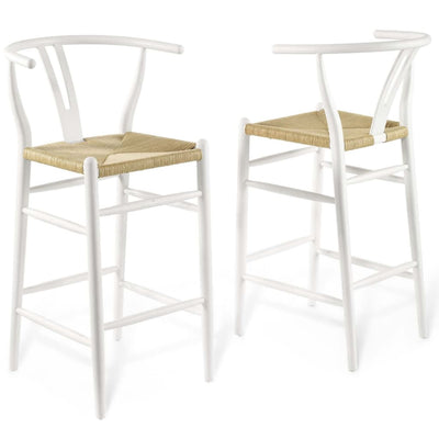 Amish Wood Bar Stool Set of 2 - EEI-4166-WHI