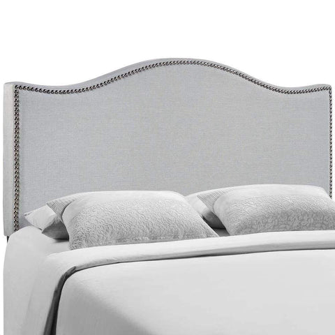 Sky Gray Curl Queen Nailhead Upholstered Headboard