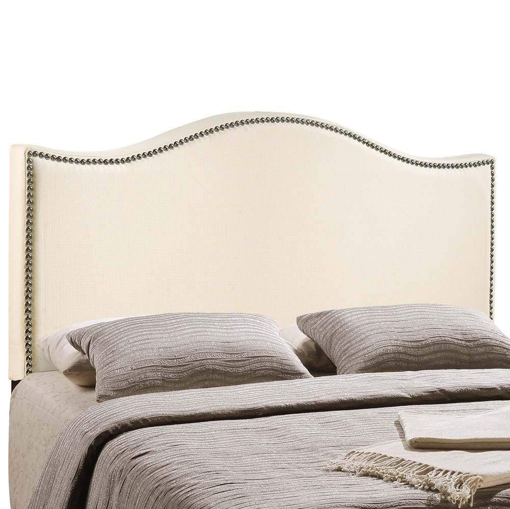 Ivory Curl King Nailhead Upholstered Headboard